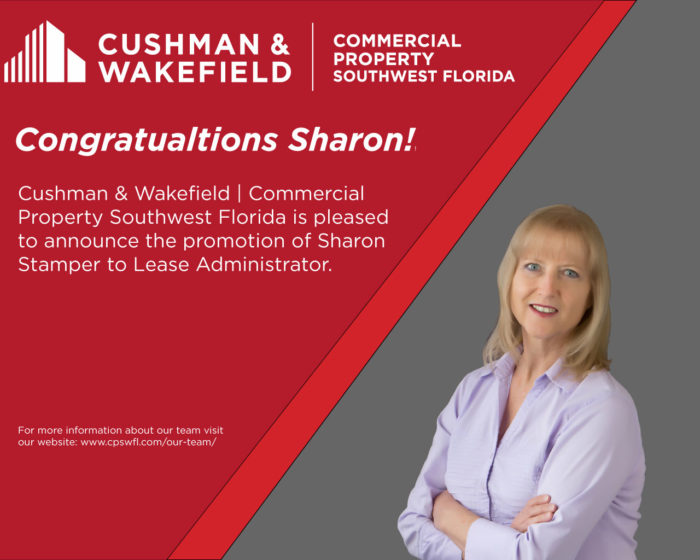 Cushman & Wakefield | Commercial Property Southwest Florida is pleased to announce the promotion of Sharon Stamper to Lease Administrator.
